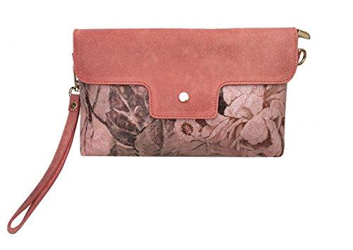 Body Lachs Rosa Cross Clutch LT3114 LAFINITY Damen Blumen Print Sauvage Party Dark Bag Bag Leder pw4YnaTq