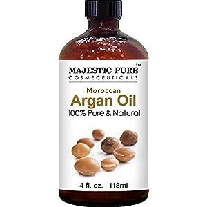 Majestic Pure Moroccan Argan Oil for Hair, Face, Nails, Beard & Cuticles, 100% Natural, Organic, 4 fl. oz.