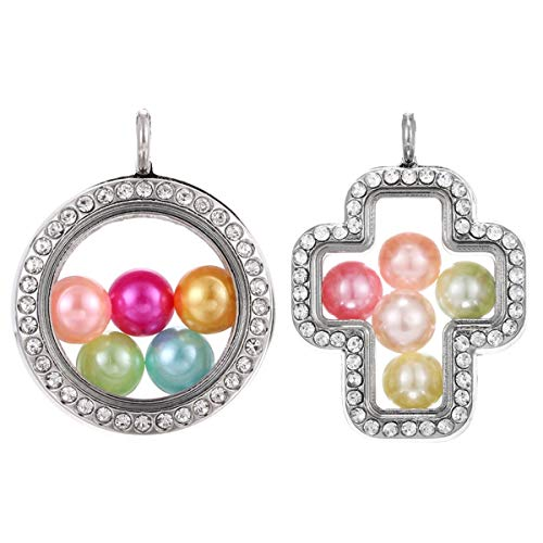 - 2pcs Mixed Living Memory Floating Locket Glass Pearl Cage Charms Pendants - for DIY Jewelry Making Fun Gifts (Round+Cross)