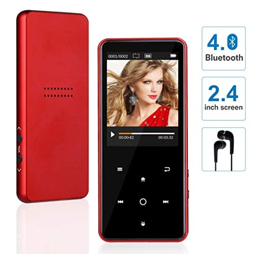 "MP3 Player with Bluetooth, WIDON 8GB Music Player with Speaker Touch Button 2.4"" Screen up to 128GB, Portable Audio Player with Shuffle A-B Bookmark Variable Speed for Audio Books-Metal Body Red"