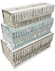 Votum - Juego de 3 cajas de almacenamiento apilables con tapa abatible para apilar espiritual, con cierre magnético