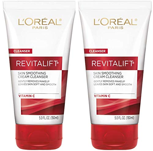 L'Oreal Paris Skin Care Revitalift Face Wash, Skin Smoothing Cream Facial Cleanser with Vitamin C, 2Count