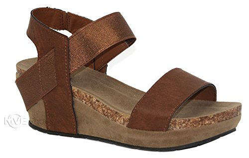 MVE Shoes Women's Open Toe Strappy Wedge - Summer Vegan Leather Platform Sandal - Low Heeled Sandals, Whiskey Size 8.5