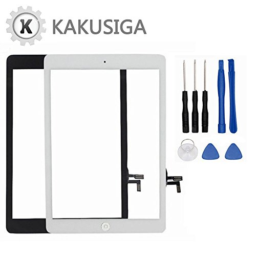 Kakusiga for iPad Air (5th Generation) Touch Screen Glass Digitizer Replacement, Home Button Flex, Adhesive Tape, Screen Protector and Repair Tools kit (Black) by KAKUSIGA