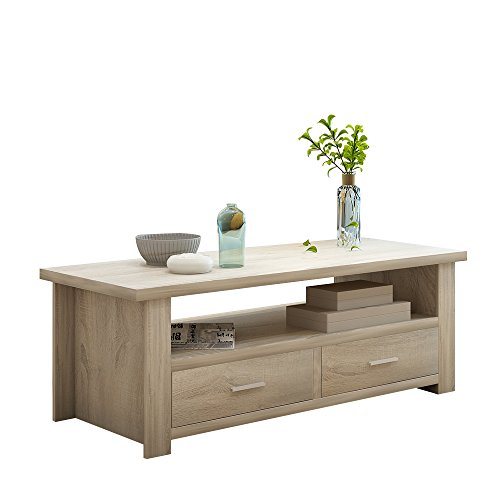 Soges Coffee Table/Console Table/TV Stand Living Room Entertainment Center Media Storage Console Living Room Furniture, Natural Color