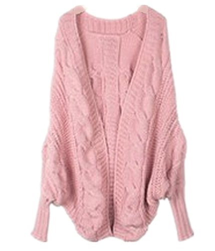 YOGLY Dames Corenne Cardigan Manteau Tricot Chale Manches  chauve-souris Pull Chandail Oversize Sweater 3 Couleur: Beige / Kaki / Pink Rose pale