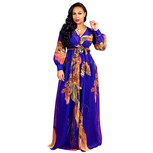 Nuofengkudu Womens Sheer Summer Boho V-Neck Printed Floral Maxi Dress Long Sleeve Dresses Slim Waisted Plus (Deepblue) L