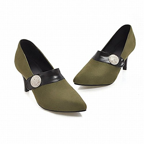 High Rhinestone Shoes Heel Toe Green Womens Pointed Foot Pumps Charm q6S7aa
