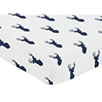Sweet Jojo Designs Fitted Crib Sheet for Navy and White Woodland Deer Baby/To...