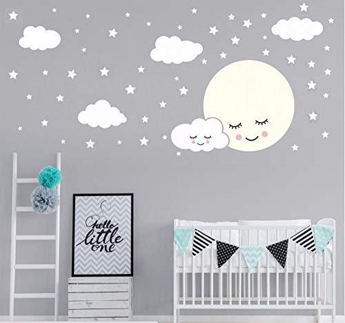 Hanjiming Luna Llena Con Nubes Estrellas Tatuajes De Pared Para ...
