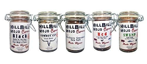 HillBilly Mojo Reserve Collection Smoked Sea Salt Black Cowboy Cut Hickory Red Swamp Cajun Blend by HillBilly Mojo