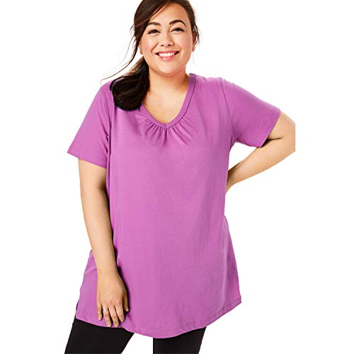Woman Within Women's Plus Size Perfect Shirred V-Neck Tunic - Rose Bud, 5X