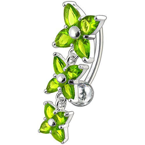 Peridot Green CZ Stone Triple Flower Reverse Bar Design 925 Sterling Silver Belly Button Piercing Ring Jewelry