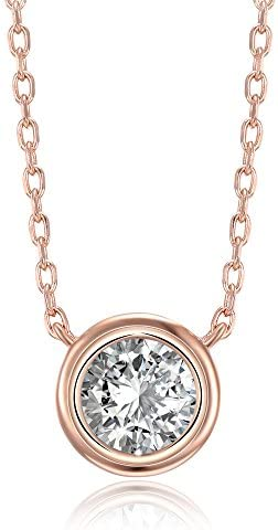 PAVOI Simulated Bezel Set Solitaire Necklace product image