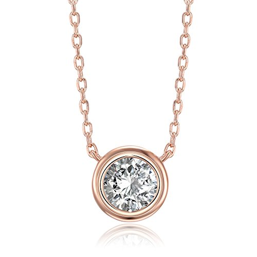 (PAVOI 14K Rose Gold Plated 1.00 ct (D Color, VVS Clarity) CZ Simulated Diamond Bezel-Set Solitaire Choker Necklace | Sterling Silver Necklace for Women)