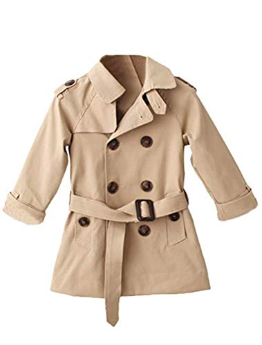 Mallimoda Girls Boys British Cotton Blend Trench Coat Jacket Double Breasted Style 1 Khaki 5-6 Years ()