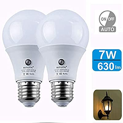 Dusk to Dawn Light Bulbs, Auto ON/Off LED Smart Bulbs 7W A19 6000K, 60W Equivalent, Porch Light Bulbs for Yard Patio Garage Garden 2 Pack by Mingfuxin