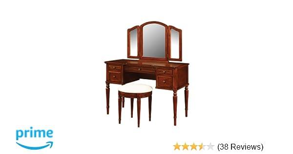 Amazon Com Powell Warm Cherry Vanity Mirror And Bench Kitchen Dining