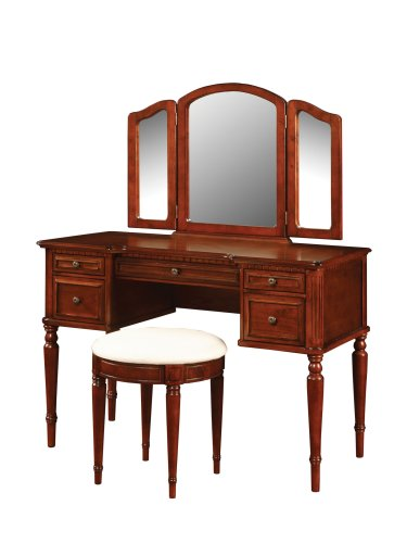 Powell Warm Cherry Vanity Mirror and Bench ()