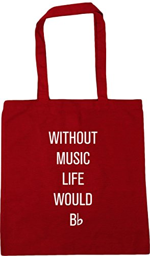 HippoWarehouse without music life would be flat Tote Shopping Gym Beach Bag 42cm x38cm, 10 litres Classic Red