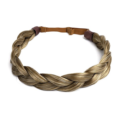 Ty.Hermenlisa Chunky Synthetic Hair Braided Headband Classic Wide Braids Elastic Stretch Hairpiece Women Beauty accessory, 55g, Dark Blonde ()