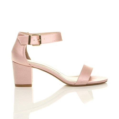 Ajvani Womens Ladies Low mid Block Heel peep Toe Buckle Ankle Strap Party Strappy Sandals Shoes Size Baby Pink Satin IgVTVZaU0w
