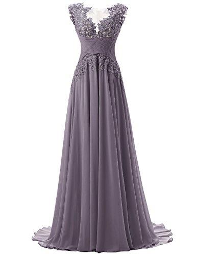 Ärmellos Lace Rückseite Chiffon Promi Abendkleider Maxi Lange Offen Dresstells elegant Kleider Grau Damen Brautjungfernkleid nU6Eqx6I