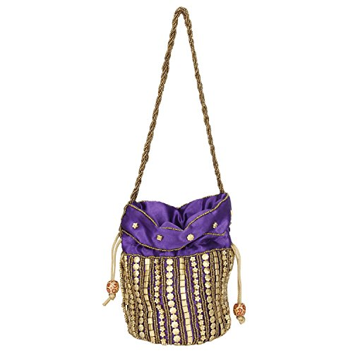 Jaipuriya Bag for Style Potli amp; Girls Traditional Purple Satin Women S7x5wqqB4