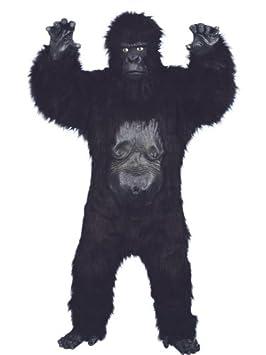 Smiffys Disfraz de gorila Deluxe, negro, body con pelo de caucho, máscara,