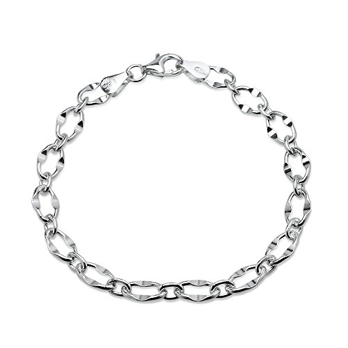 Sterling Silver High Polished Italian Dapped Oval Link Chain Bracelet, 7 Inches