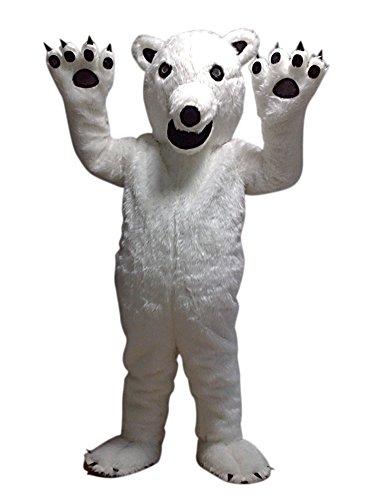 White Polar Bear Mascot Costume Adult Size Cartoon Halloween Fancy Dress Suit -