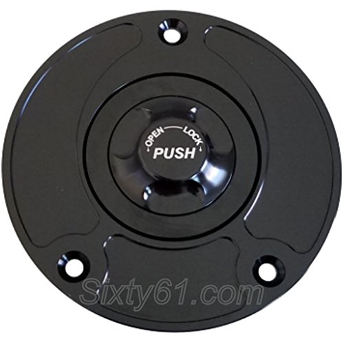 Quarter Turn Race (Sixty61 Suzuki GSXR 1000 Black Custom Gas Cap for Years 2003-2017, Keyless, Quarter Turn, Race)