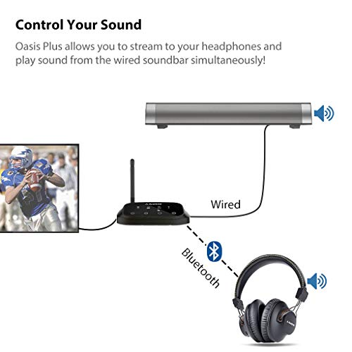 f71d5a52717 2019 New Avantree HT5009 Long Range Wireless Headphones for TV Watching, w/ Bluetooth  Transmitter, Support Wired Home Stereo Simultaneously, Plug & Play, ...