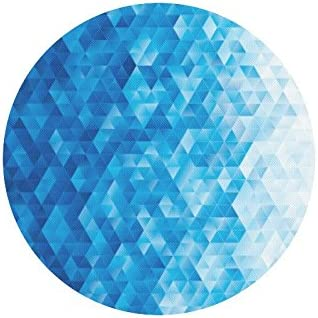 InterestPrint Abstract Geometric Triangle Blue Mosaic Round Non Slip Rubber Mouse Pad Gaming Mousepad Mat with Designs