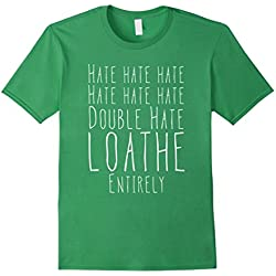 Mens Hate Double Hate Loathe Entirely T-Shirt Antisocial Tee XL Grass