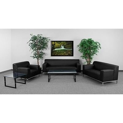 8009 Series (3pc Definity Series Brown Leather Reception Furniture Set - Lounge Furniture)