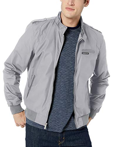 Members Only Men's Original Iconic Racer Jacket, Grey, Medium