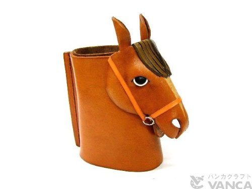 Horse-headed Brown Genuiine Leather Animal Eyeglasses Hol...