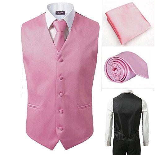 - 3 Pcs Vest + Tie + Hankie Men's Fashion Formal Dress Suit Slim Tuxedo Waistcoat Coat (Large, Pink)