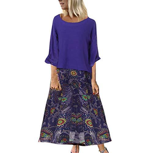 Women's Dress Summer Women Two-Piece Floral Print Long Dresses Shirt Ladies O-Neck Loose 3/4 Sleeve Vintage Beach Dress Blue