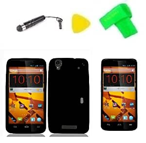 Black Soft Silicone Jelly Skin Phone Case Cover Cell Phone Accessory + Extreme Band + Stylus Pen + Lcd Screen Protector + Yellow Pry Tool For Zte Boost Max N9520 9520