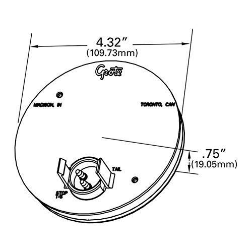 Grote 55103 SuperNova 4'' Full-Pattern LED Stop Tail Turn Light (Grommet Mount, Rear Turn, Male Pi)