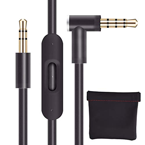 Replacement Audio Cable Cord Wire with in-line Microphone and Control + OEM Replacement Leather Pouch/Leather Bag for Beats by Dr Dre Headphones Solo/Studio/Pro/Detox/Wireless/Mixr/Executive/Black