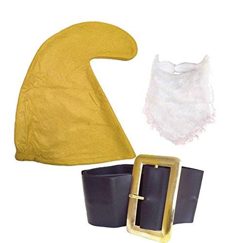 Jokeshop.com Seven Dwarf/Dwarves Smurf Hay Gnome (Yellow Hat, Beard & Belt Set) Fancy Dress Party Garden Fairy Tail Snow White