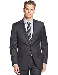 DKNY Dark Gray Slim Fit 2 Button Solid New Men's Blazer