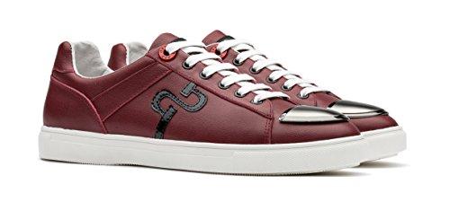 Opp Mens Cuir Casual Chaussures Plates Baskets À Lacets Design Unique Rouge
