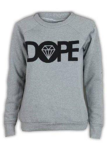 "Fashion Charming Sudadera de mujer con texto arriba ""Dope"", forro polar, estampado de diamante, cuello redondo, talla 36–�?2 gris"