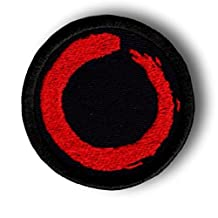 "[Single Count] Custom and Unique (2"" Inch) Round Imperfect Buddhist Zen Crimson Sable Charcoal Infinity Ring Yoga Meditation Circular Shaped Iron On Embroidered Applique Patch {Black & Red Colors}"