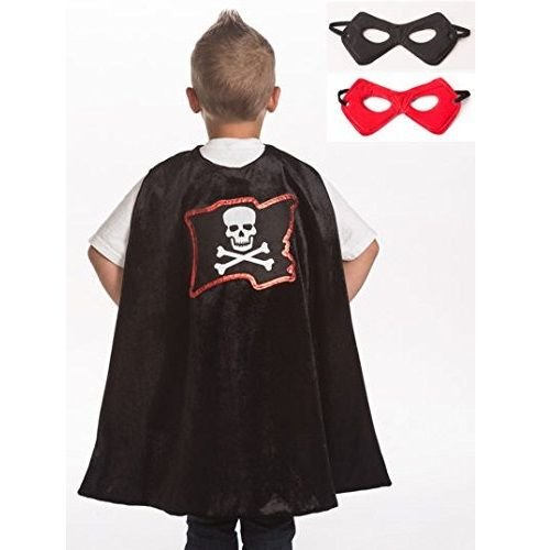 Little Adventures Super Hero Cape & Mask Set Costumes Age 3-8 (Black Pirate) ()