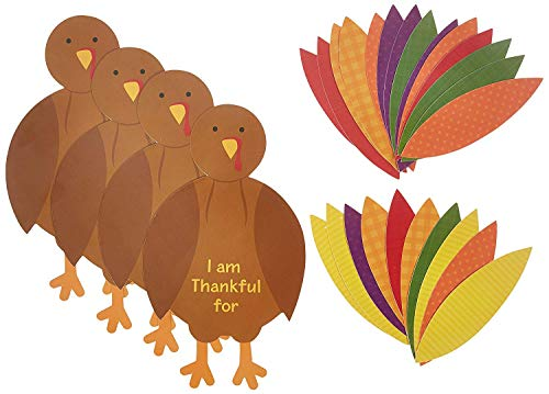 Thanksgiving Craft Projects (Amscan 3 Pack Thanksgiving Turkey Craft Kit | Makes 12 Turkeys | Party)